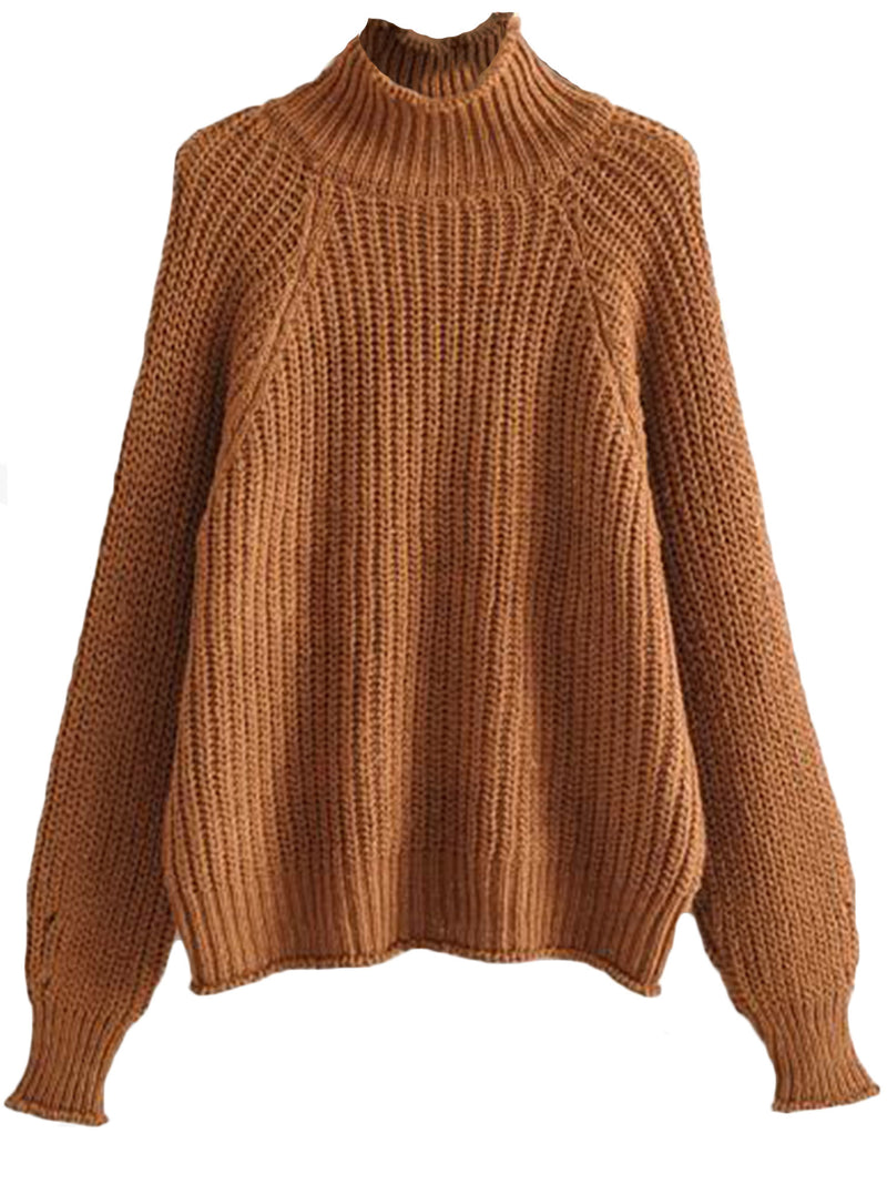 'Emily' Mock Neck Ribbed Knit Sweater (4 Colors)