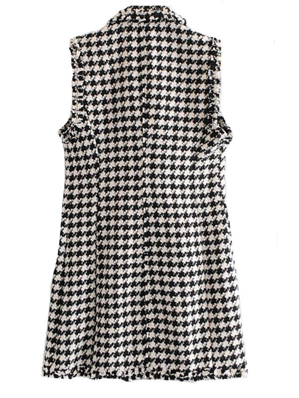 'Lexi' Houndstooth Patterned Tweed Fabric Sleeveless Dress