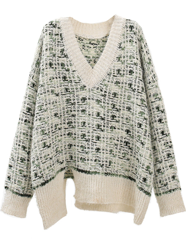 'Charlotte' Tweed Fluffy V-Neck Sweater with Slit (3 Colors)