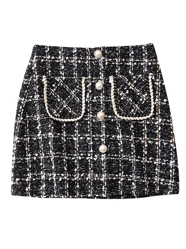 'Maci' Tweed Pearl Button Mini Skirt (2 Colors)