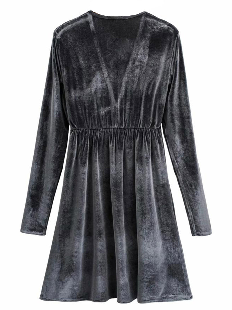 'Melanie' V-Neck Grey Velvet Mini Dress