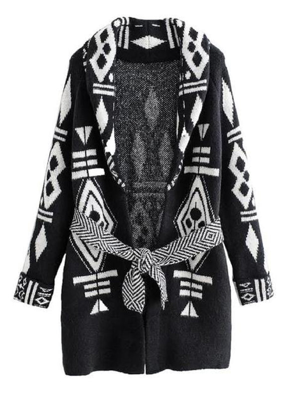 'Veronica' Aztec Bohemian Belted Cardigan