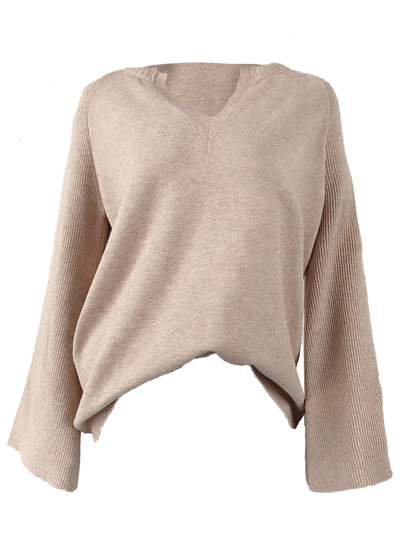 'Nicole' V Neck Ribbed Sleeves Sweater (4 Colors)