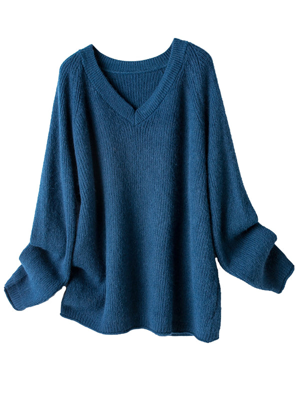 'Cheryl' V-neck Ribbed Sweater (3 Colors)