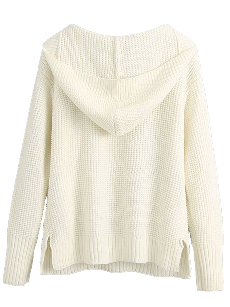'Melanie' Lace Up Cream Waffle Knit Hooded Sweater