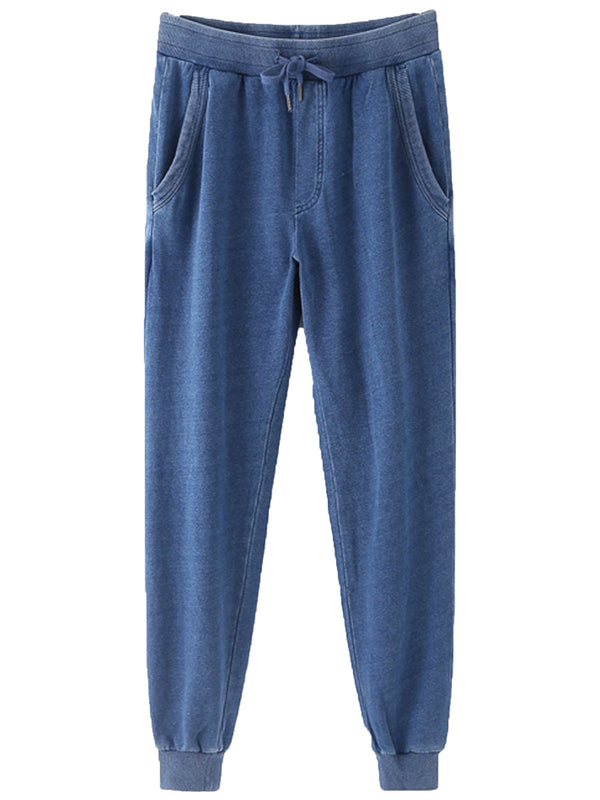 'Liberty' Washed Denim Effect Drawstring Sweatpants