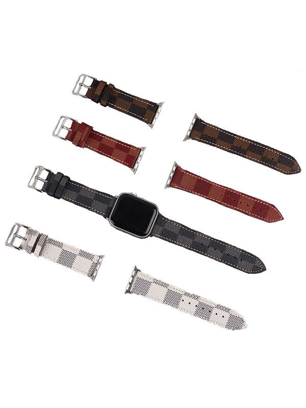 'Mary' Checked Canvas Apple Watch Strap (4 Colors)