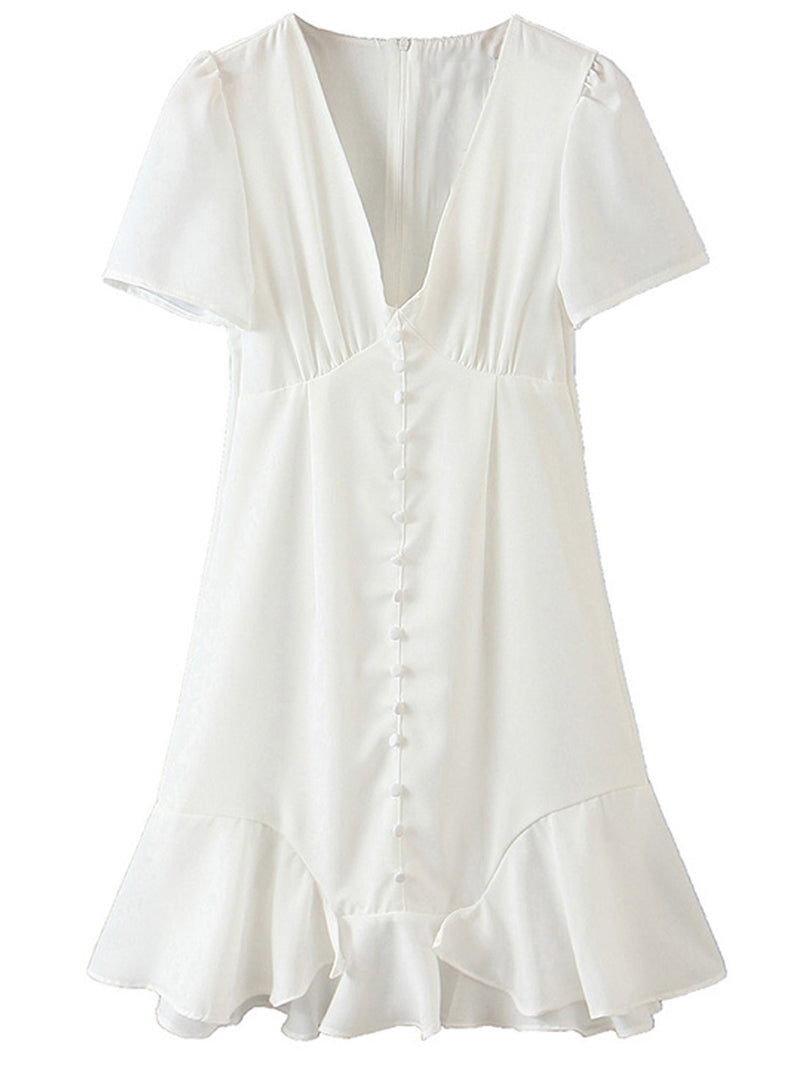 'Jade' Deep V Button Down White Mini Dress