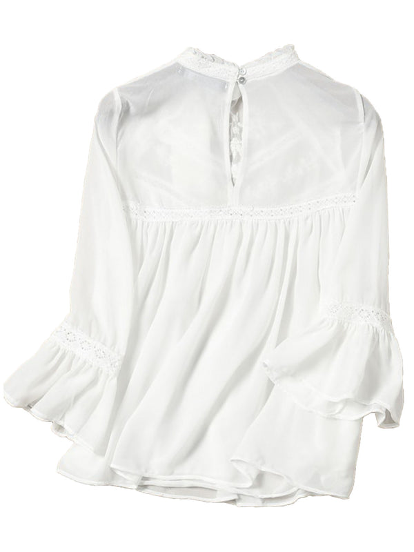 'Isabella' White Embroidered Mock Neck Lace Blouse