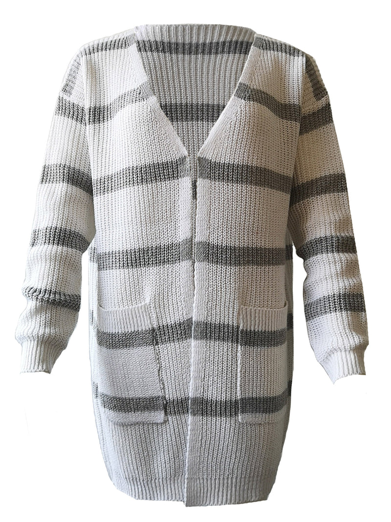 'Janice' Striped Open Cardigan with Pockets (4 Colors)