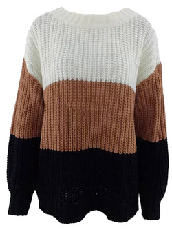 'Renate' Crewneck Colorbock Long Sweater
