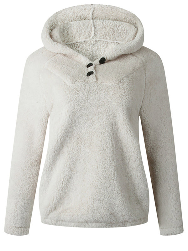 'Jasmine' Button Fleece Hoodie (4 Colors)