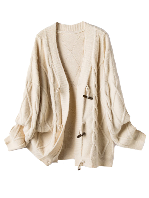 'Coco' Cable Knit Horn Button Oversized Cardigan (3 Colors)