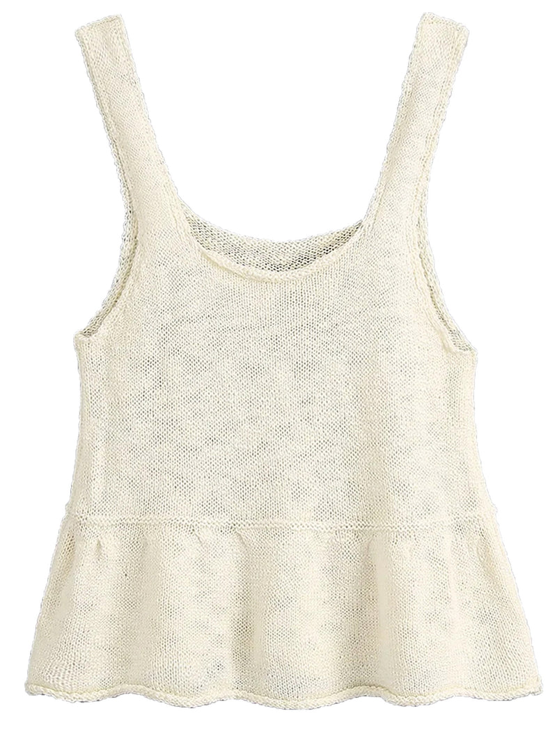 'Nora' Peplum Summer Knit Top (2 Colors)