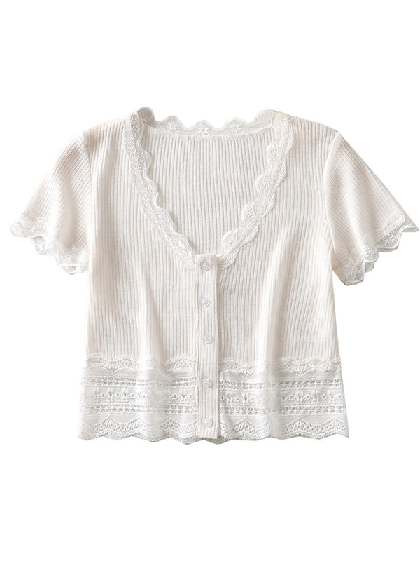 'Florinda' Lace Trim Button Down Ribbed Cropped Top (2 Colors)