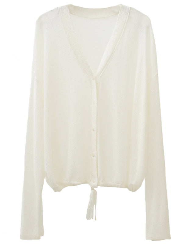'Kaitlyn' Lightweight Button Down Tie Bottom Cardigan (3 Colors)