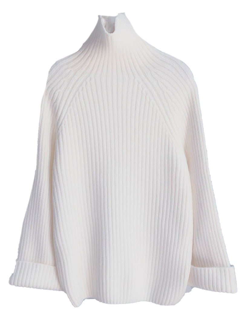 'Candace' Ribbed High Neck Oversized Sweater (5 Colors)
