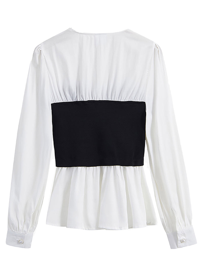 'Hazel' White Shirt with Black Knot Front Top