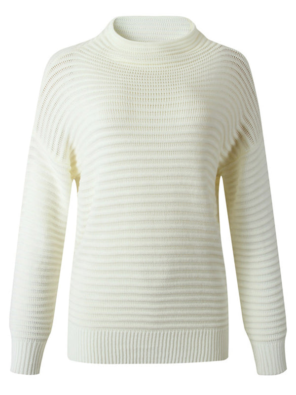 'Sabrina' Mock Neck Ribbed Knit Sweater (2 Colors)