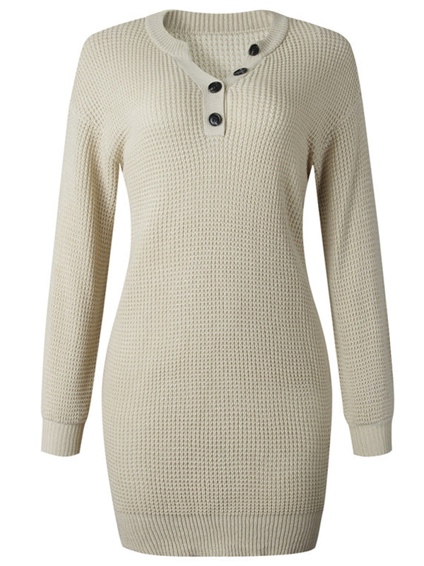 'Katy' Button Crewneck Waffle Knit Dress (5 Colors)