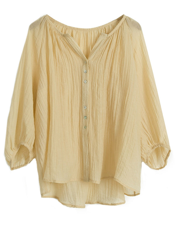 'Mila' Round Neck Button Sheer Blouse (3 Colors)