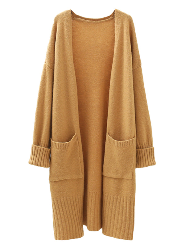 'Joelle' Long Open Cardigan with Pockets (2 Colors)