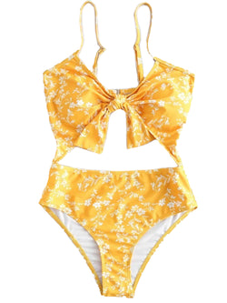 'Shelby' White Floral Yellow One Piece Swimsuit