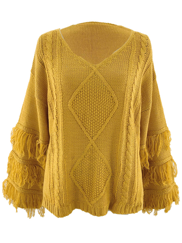 'Elise' V-Neck Cable Knit Fringe Sleeve Sweater (7 Colors)