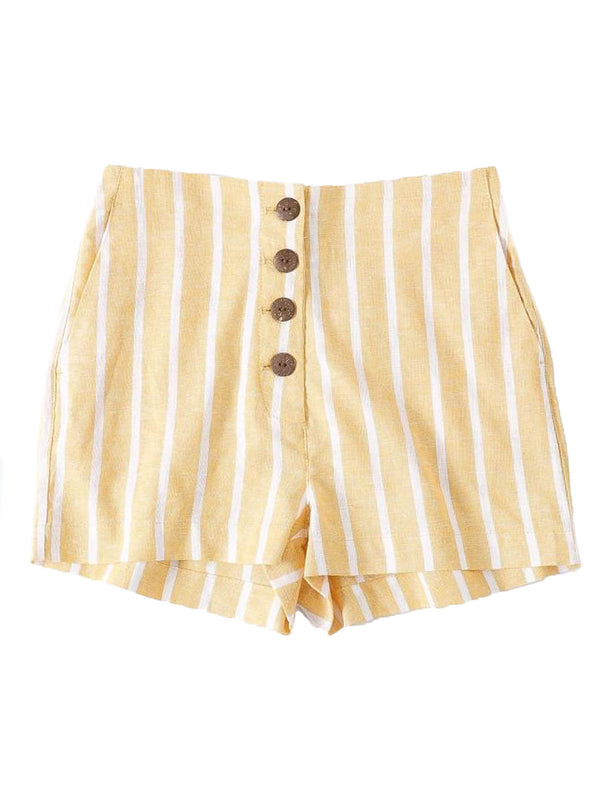 'Chyenne' 4 Buttons High Waisted Striped Linen Shorts (2 Colors)