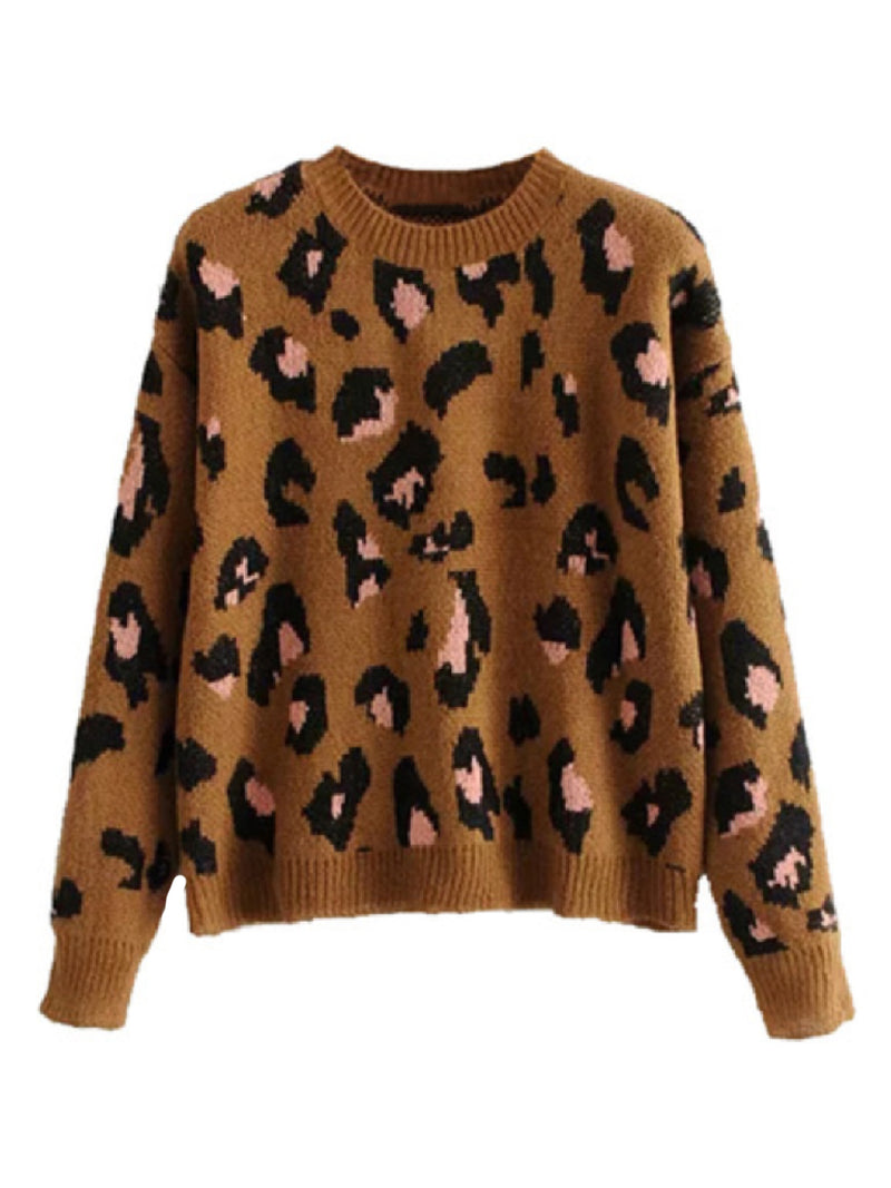 'Zur' Leopard Print Knitted Sweater (2 Colors)