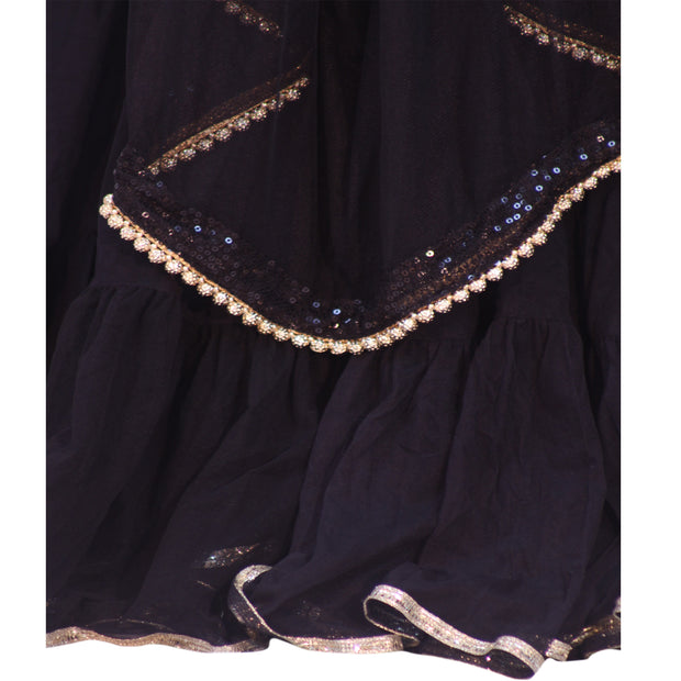 Black Layered Skirt with thin gold border and black dupatta