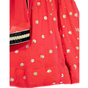 Red Lehnega with full 360 spin and matching dupatta