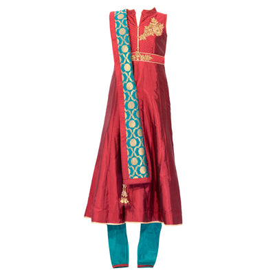 Maroon Kurta Set with teal pants
