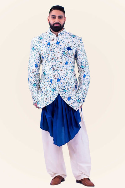 Tropical and luxurious sherwani worn with soft comfortable kafni style kurta, paired with salwar style drawstring pants.