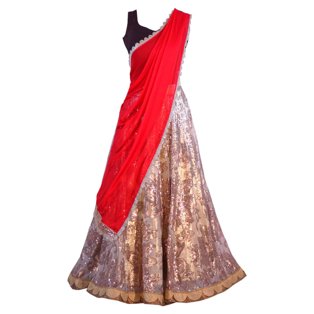 Gold Lehenga with red dupatta