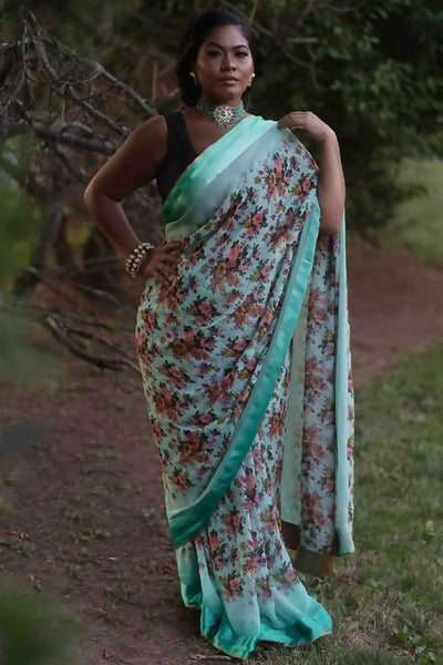 Lightweight emerald silk sari with flower print