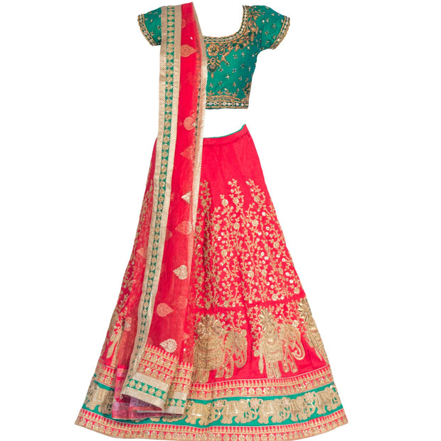 Traditional Bridal Red Lehenga with classic motif embroidery.