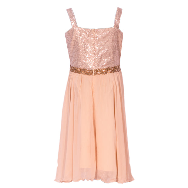 Too glam to care  Beige dress with straps, covered in sequin work on top with a flower belt.