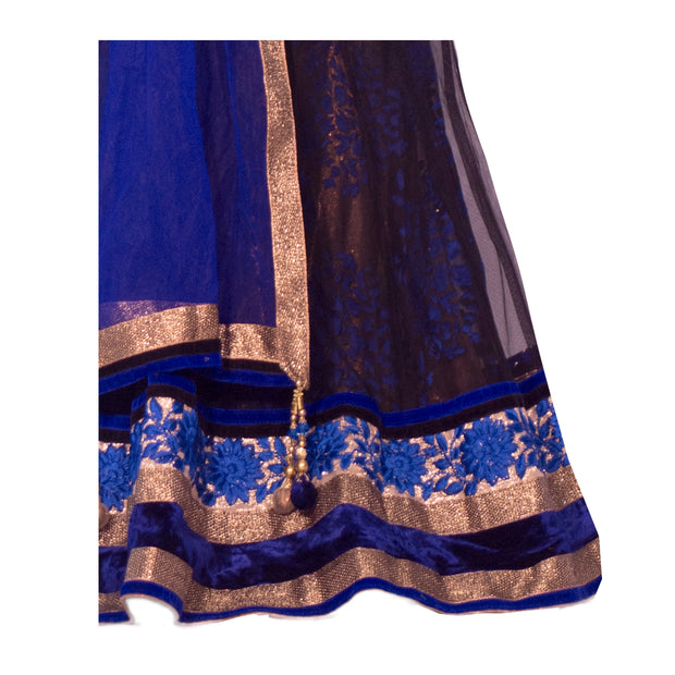 Kids Lehenga. Deep blue velvet blouse with border on neckline. Matching blue silk details in skirt, with lace and majestic blue flowers on border, with matching dupatta.
