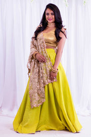 Pastel lime green skirt paired with beige blouse. Drape net dupatta with scalloped edges on shoulders/ shoulder.