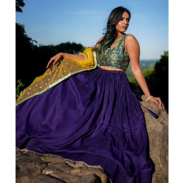 Peacock inspired lehenga with a royal blue skirt