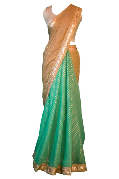 Mermaid fishtail two toned chiffon sari. Covered in golden scales, create pleats with green fabric, finish with beautiful golden pallu.