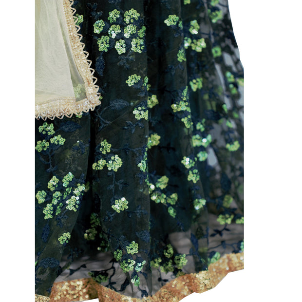 Hunter green full gown/anarkali with embroidary on the bottom
