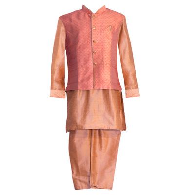 Pinkish Gold jacket paired with gold kurta and pants