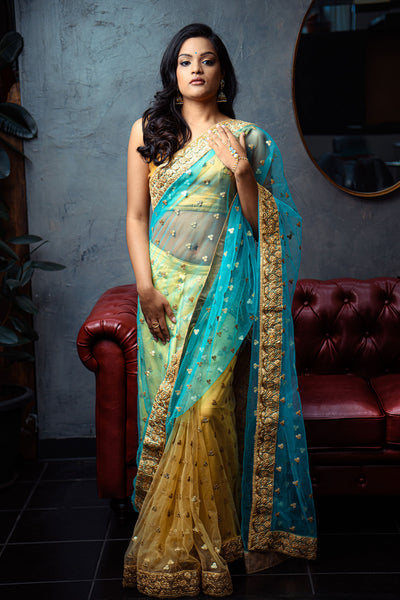 Pre-pleated two-toned warp around sari comes with hooks for easy wear. Can accommodate up to 5 bridesmaids.