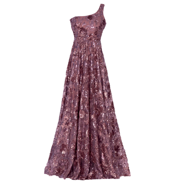Ice and Pricey  Elegant mauve net gown with exuberant flower pattern. Shine perfectly as any event.