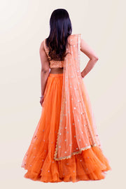 Exquisite two piece peach lehenga with textured blouse, paired with peach skirt with tulle and glitter at the bottom. Finish this look by draping matching net dupatta with gold trim on shoulders/ shoulder.