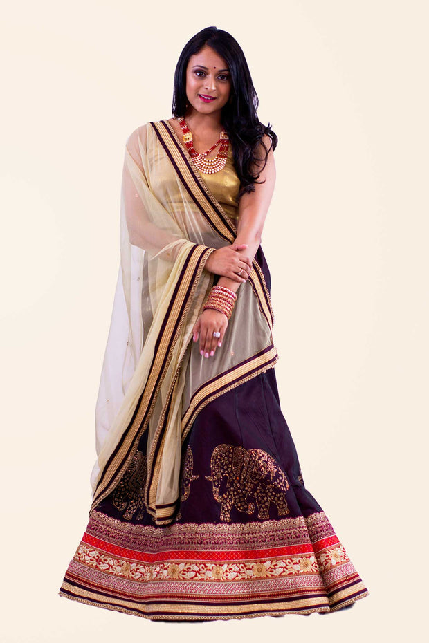 Exquisite eggplant skirt with gold elephant embroidery on multicolor border. Paired with gold blouse and color contrasting net dupatta for draping.