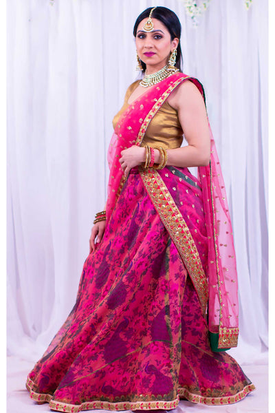 Lavish organza fabric pink lehenga covered in peacock print overlay. Paired with soft gold blouse. Finish this look by draping pink net dupatta bedazzled in gold specks and gold trim on shoulders/ shoulder.