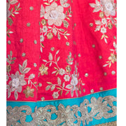 Pink Bridal lehenga with white thread work on skirt